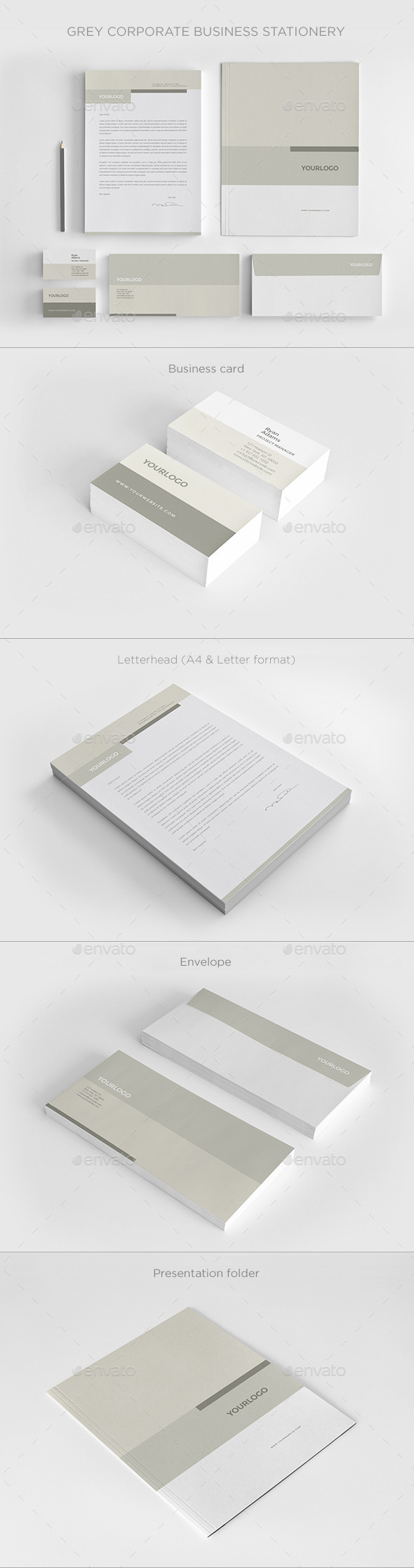 Grey Corporate Business Stationery - Stationery Print Templates