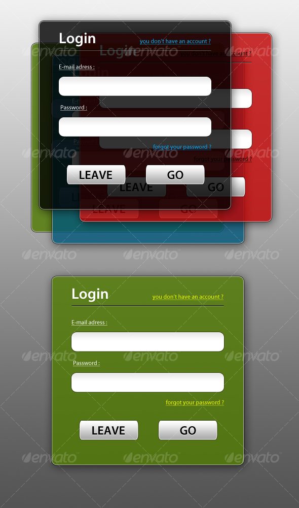 Semi-Transparent Login Boxes - Forms Web Elements