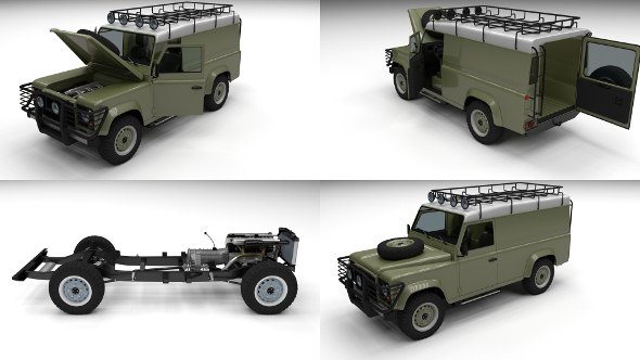Full Land Rover Defender 110 Hard Top - 3DOcean Item for Sale
