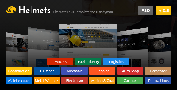 Helmets – PSD Template for Handyman