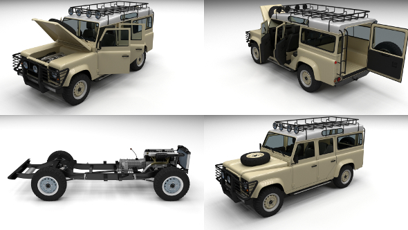 Full Land Rover Defender 110 Station Wagon - 3DOcean Item for Sale