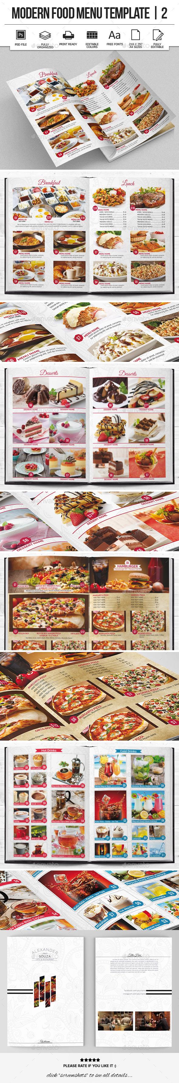 Modern Food Menu Design 2 - Food Menus Print Templates