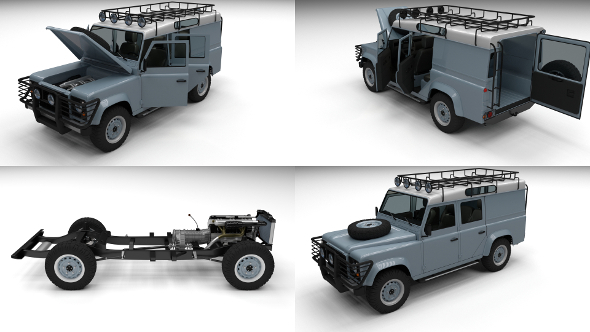 Full Land Rover Defender 110 Utility Station Wagon - 3DOcean Item for Sale