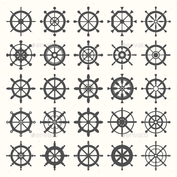 Set of Different Rudder Icons - Decorative Symbols Decorative