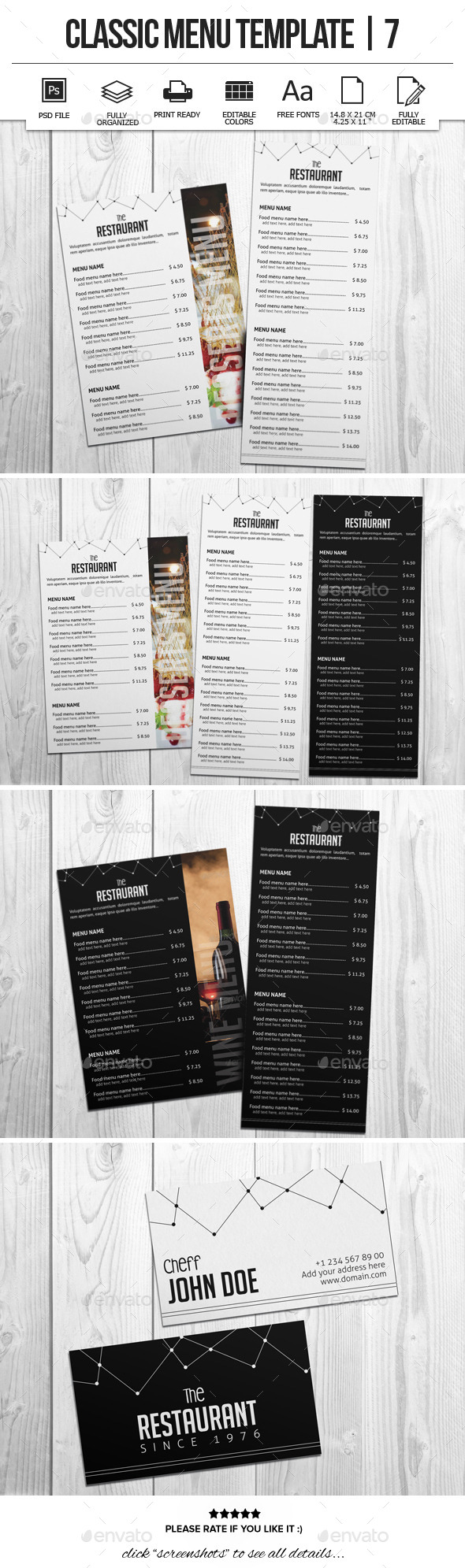 Classic Menu Template 7 - Food Menus Print Templates