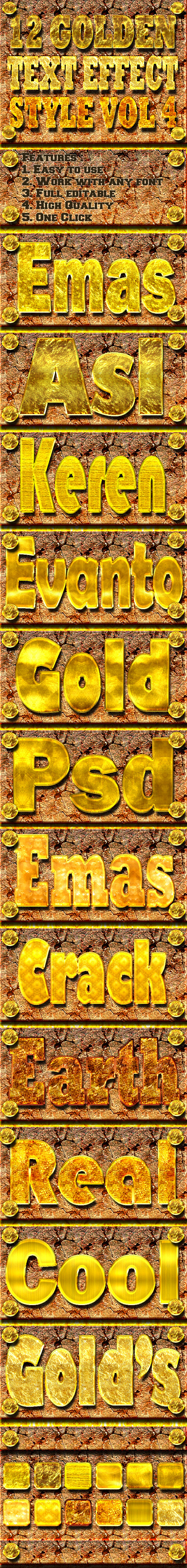 12 Golden Text Effect Style Vol 4 - Styles Photoshop