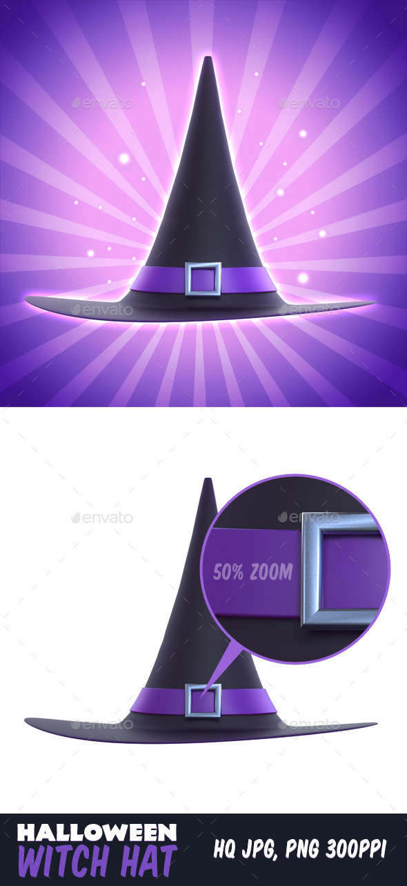 Halloween Witch Hat 3D - Objects 3D Renders