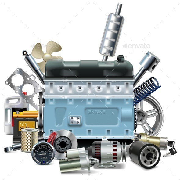 Engine with Car Spares - Industries Business