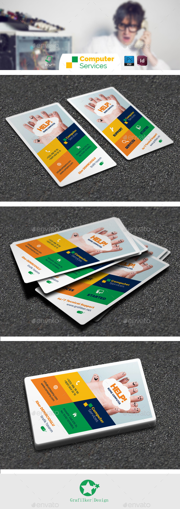 Computer repair business card templates by grafilker graphicriver computer repair business card templates creative business cards friedricerecipe Gallery