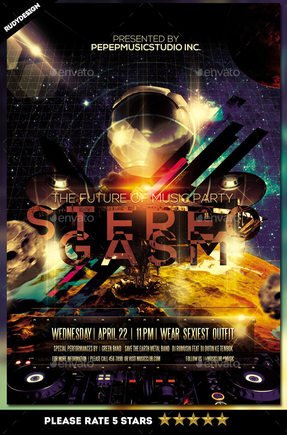 Stereogasm Music Night Party Flyer - Clubs & Parties Events