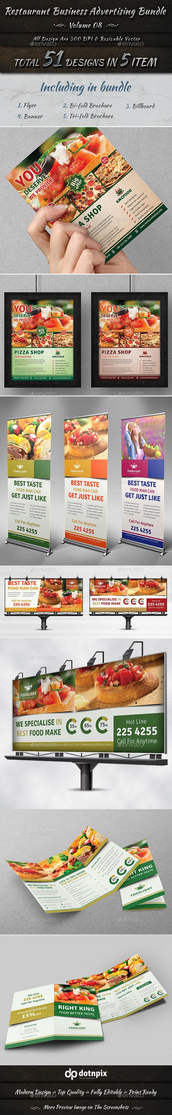 Restaurant Business Advertising Bundle   Volume 8 - Stationery Print Templates