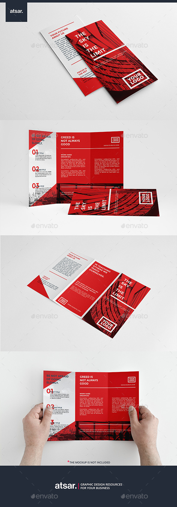 Simple Red Trifold - Brochures Print Templates