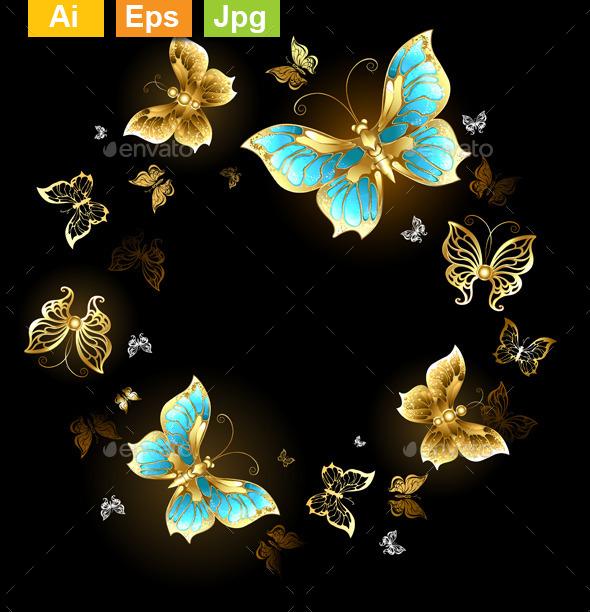 Round of Golden Butterflies - Borders Decorative