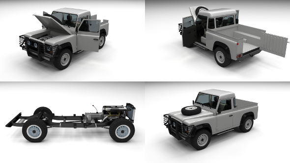 Full Land Rover Defender 90 Pick Up - 3DOcean Item for Sale