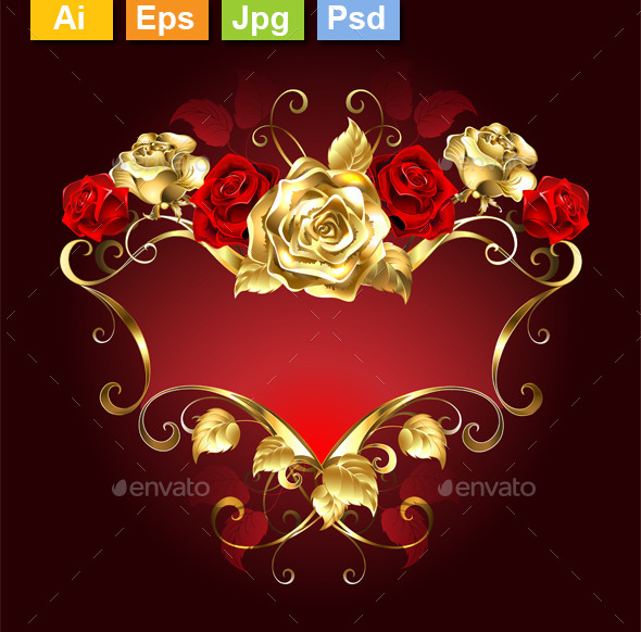 Red Banner with Roses - Borders Decorative
