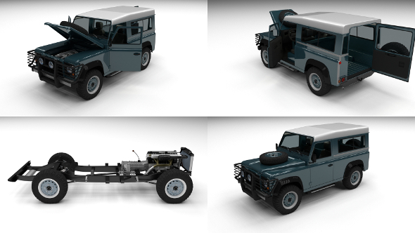 Full Land Rover Defender 90 Station Wagon - 3DOcean Item for Sale