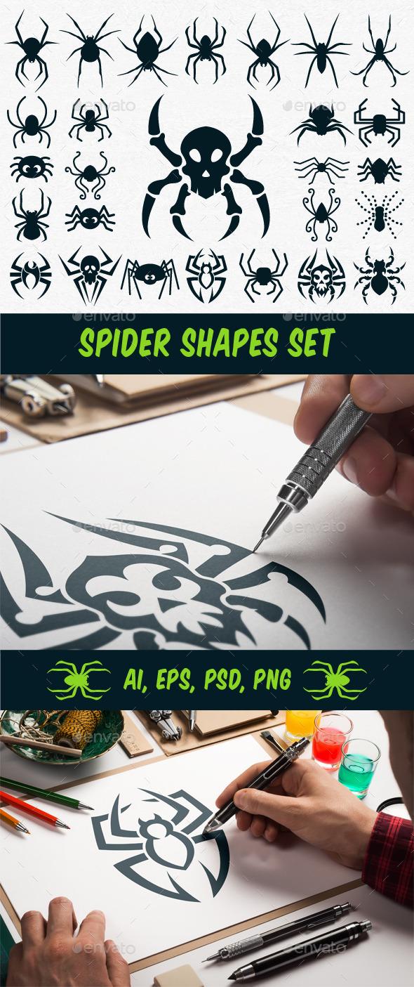 Spider Shapes Set for Halloween - Halloween Seasons/Holidays