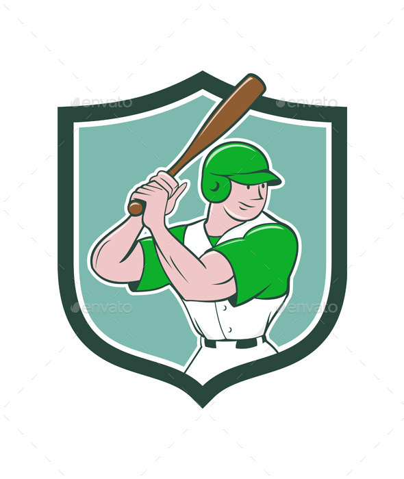 Baseball Player Batting Stance Shield Cartoon - Sports/Activity Conceptual