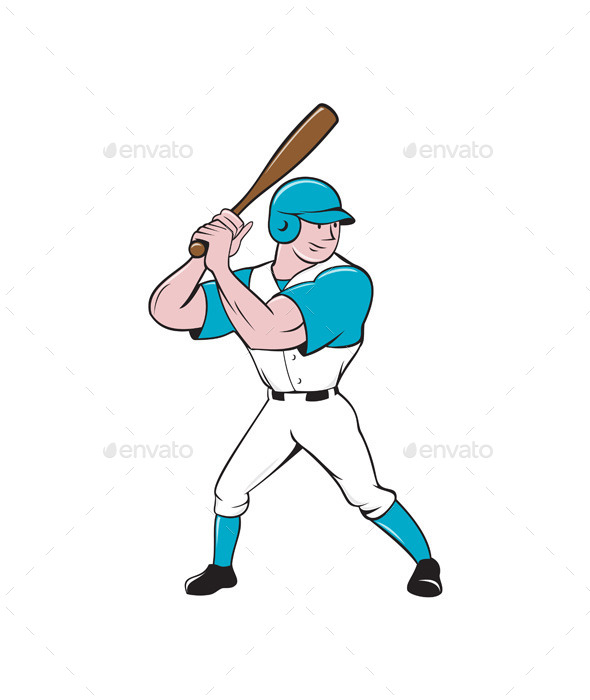 Baseball Player Batting Stance Isolated Cartoon - Sports/Activity Conceptual