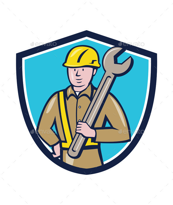 Construction Worker Spanner Shield Cartoon - People Characters
