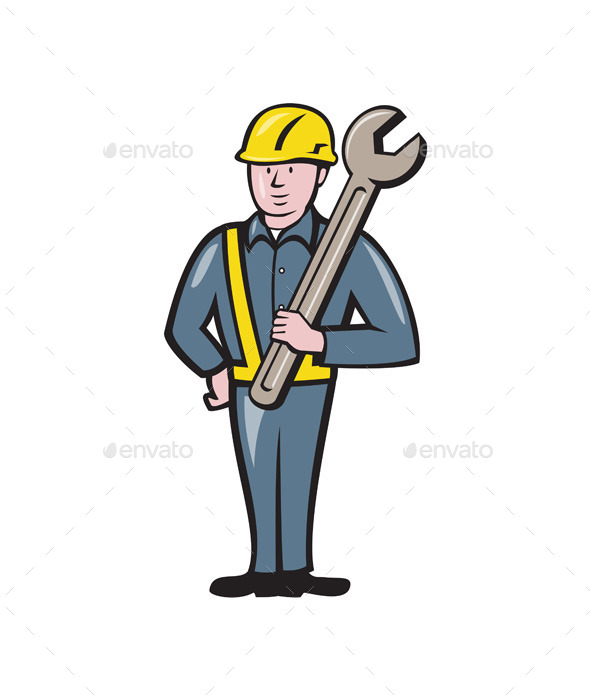 Construction Worker Spanner Isolated Cartoon - People Characters