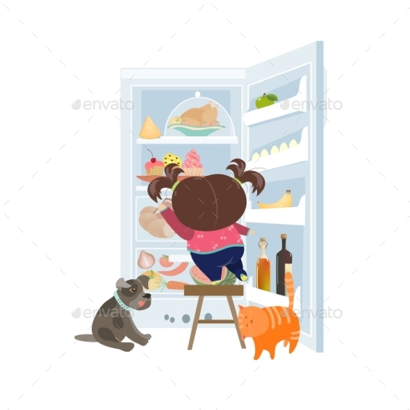 Girl Taking the Cake from Refrigerator - Food Objects