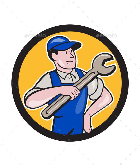 Mechanic Pointing Spanner Wrench Circle Cartoon - People Characters