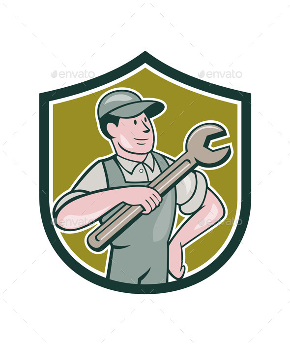 Mechanic Pointing Spanner Wrench Shield Cartoon - People Characters