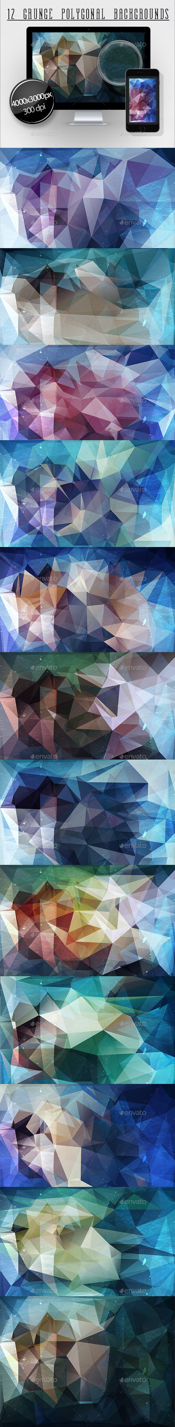 12 Grunge Polygonal Backgrounds