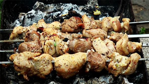 Barbecue Shashlik at the Stake