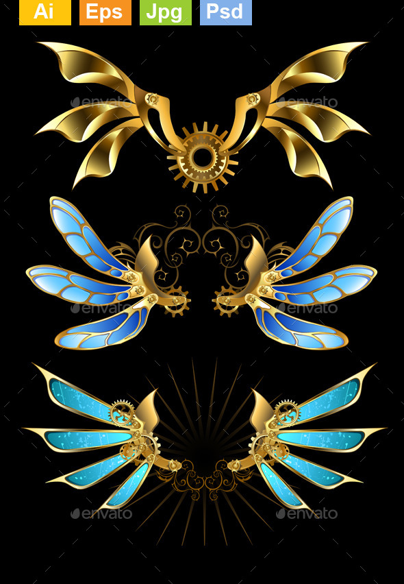 Set of Steampunk Wings - Miscellaneous Vectors