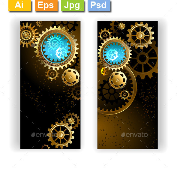 Two Banners with Gears - Backgrounds Decorative
