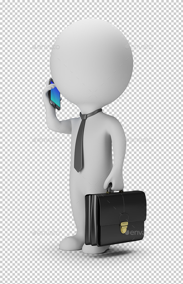 3D Small People - Businessman With Phone - Characters 3D Renders