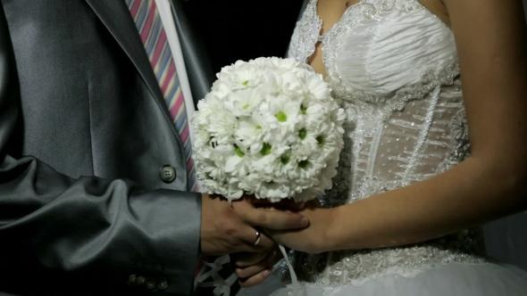 Newlyweds Kiss Happily