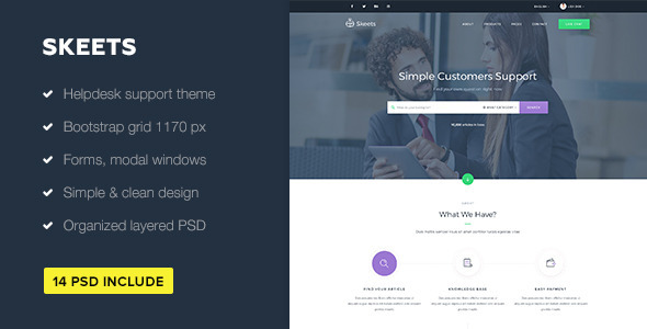 Skeets — Helpdesk and Knowledge Base PSD Template - Software Technology