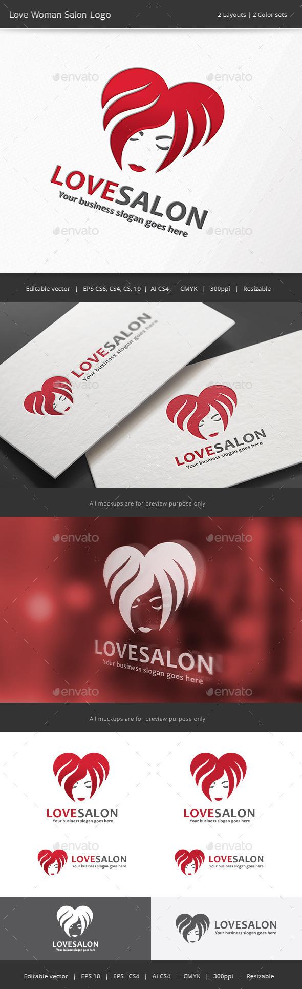 Love Woman Salon Logo - Humans Logo Templates