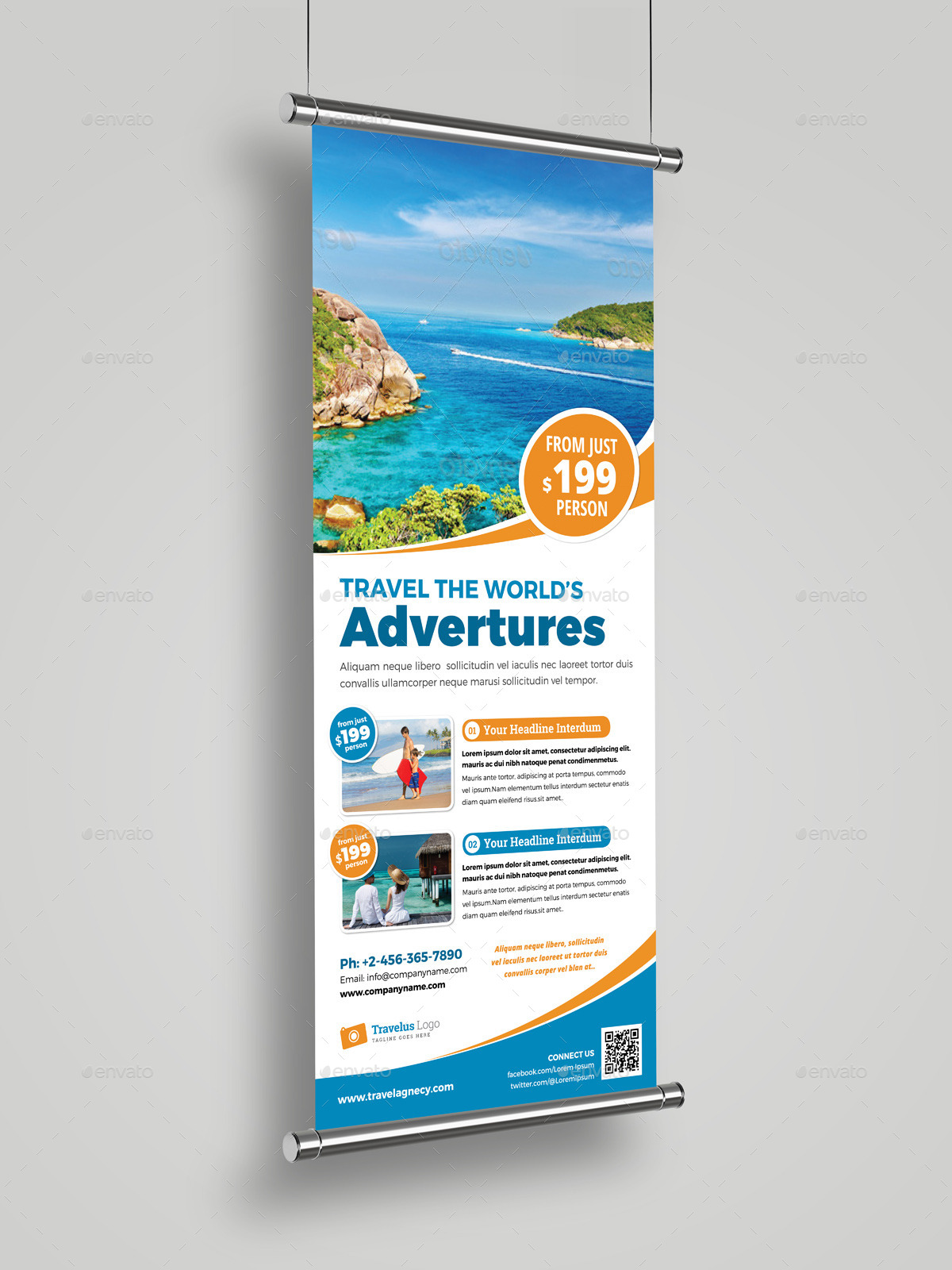 Travel Roll Up Banner Signage InDesign Template by JanySultana ...
