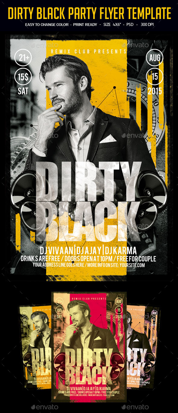 Dirty Black Party Flyer Template - Clubs & Parties Events