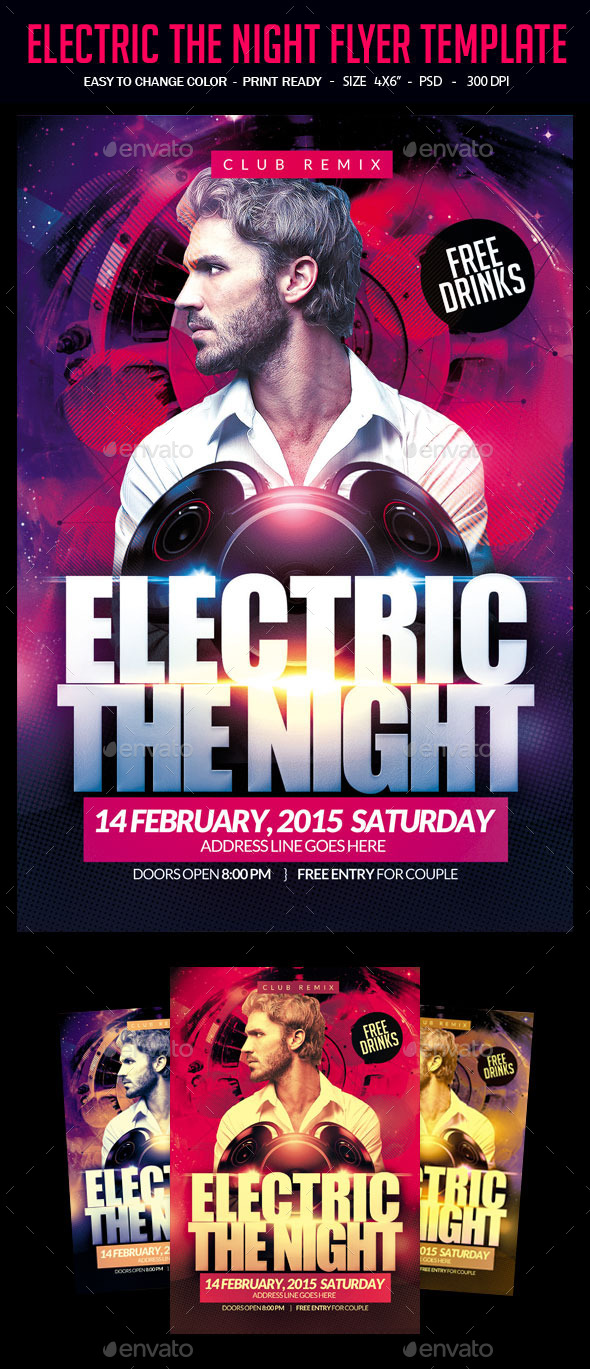 Electric The Night Flyer Template - Clubs & Parties Events