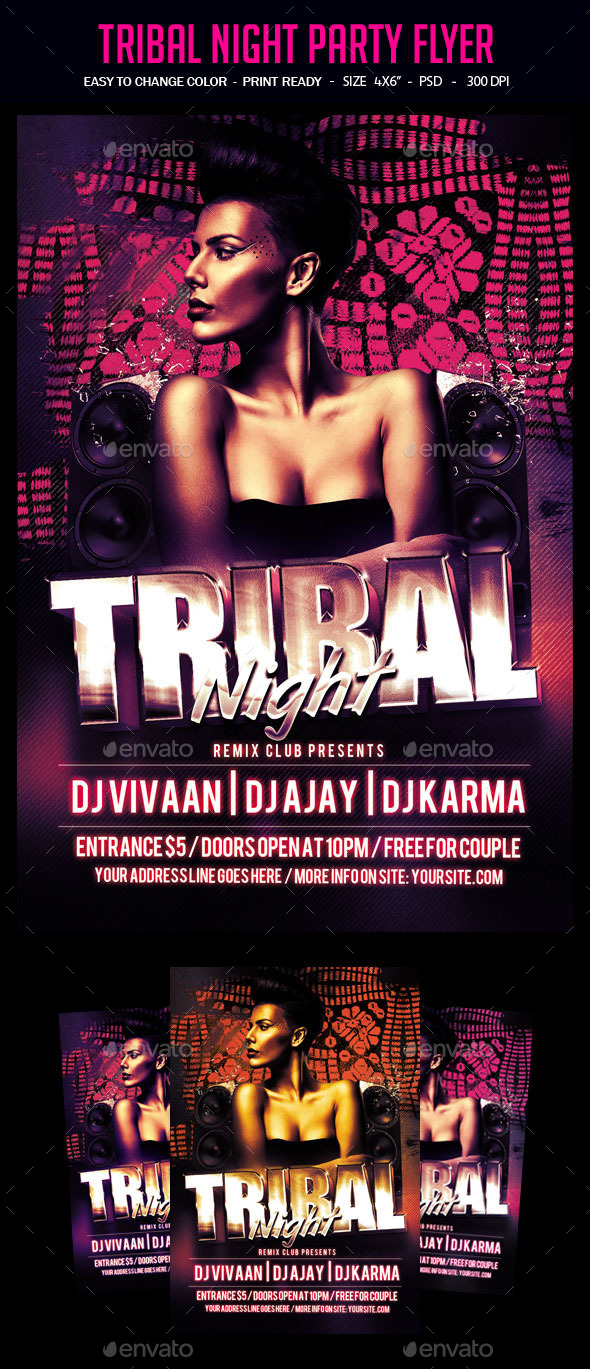 Tribal Night Party Flyer - Clubs & Parties Events