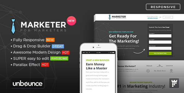 Marketer – Premium Marketing Unbounce Template