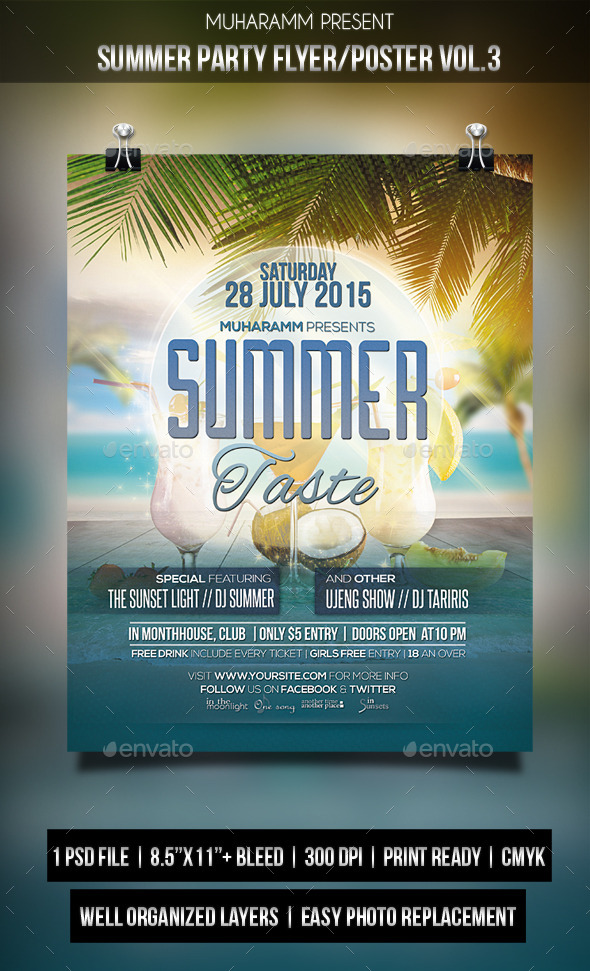 Summer Party Flyer / Poster Vol.3 - Clubs & Parties Events