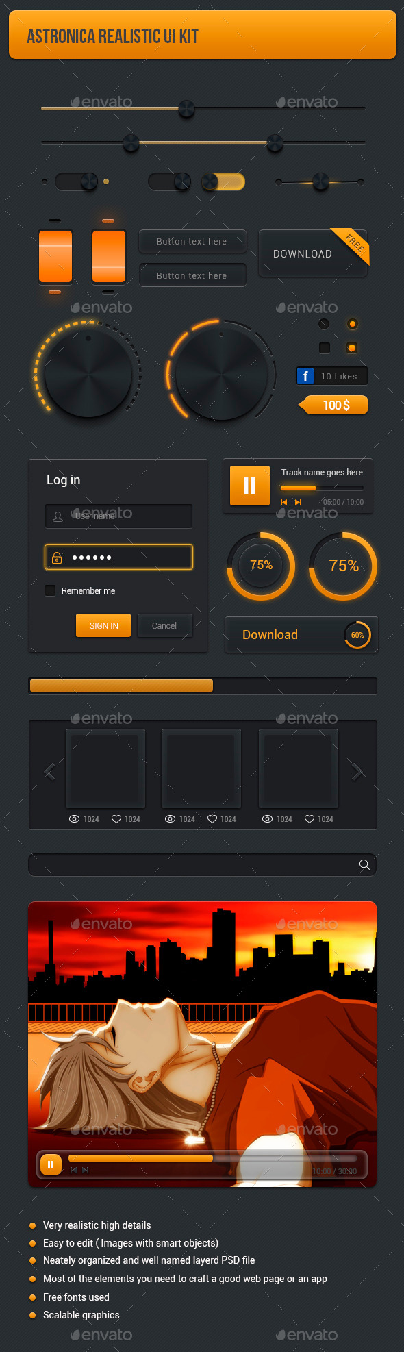 Realistic User Interface kit - User Interfaces Web Elements