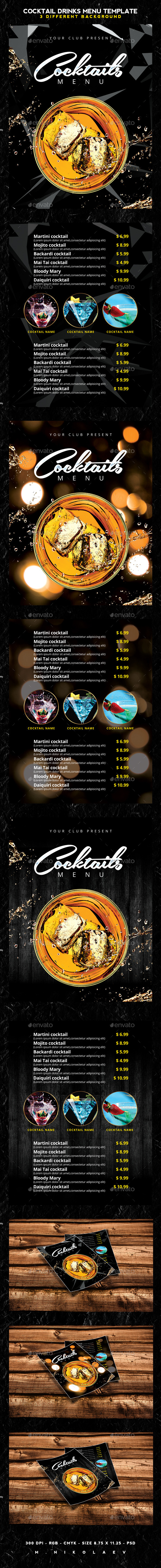 Cocktail Drinks Menu - Food Menus Print Templates