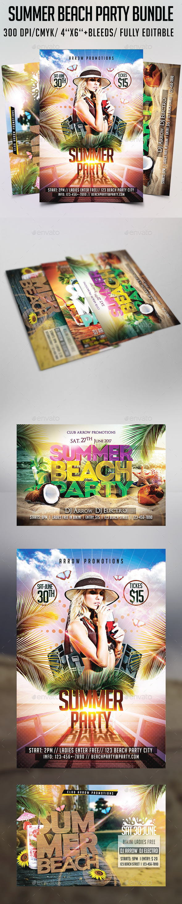 Summer Beach Party Flyer Bundle - Clubs & Parties Events