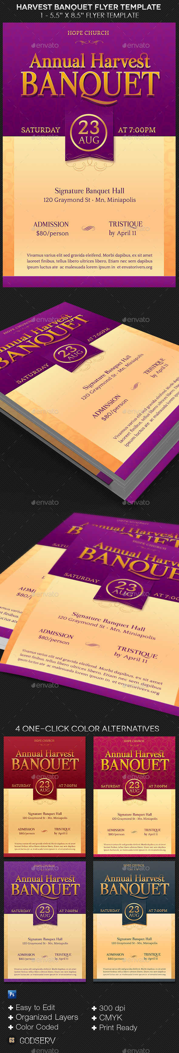 Harvest Banquet Flyer Template - Church Flyers
