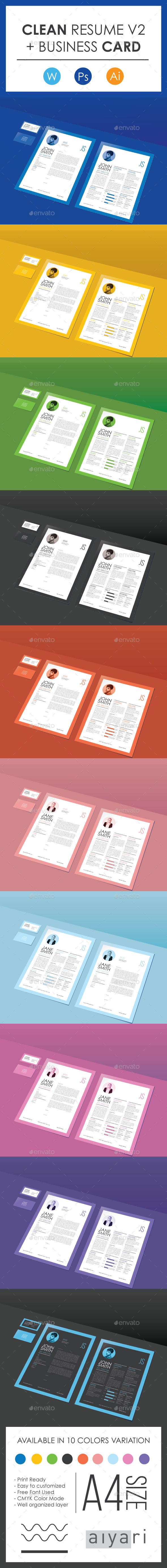 Clean CV & Resume V2 with Business Card - Resumes Stationery