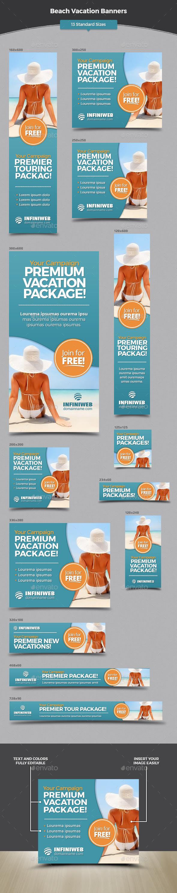 Beach Vacation Banners - Banners & Ads Web Elements