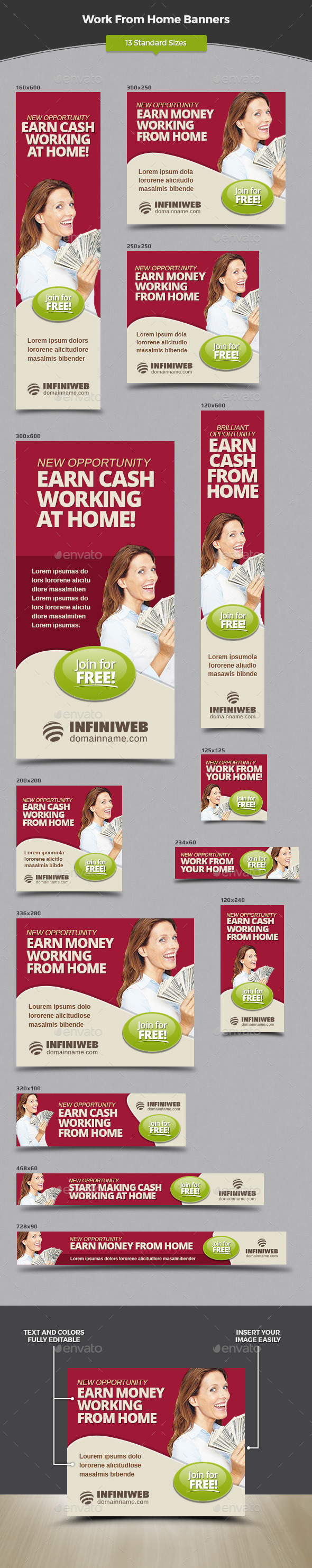 Work From Home Banners - Banners & Ads Web Elements