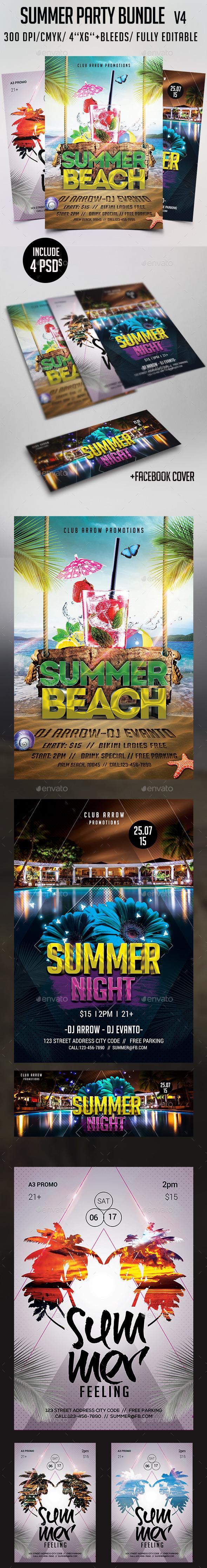 Summer Flyer Bundle V4 - Clubs & Parties Events